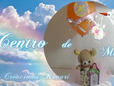 Centro de mesa Globo Aerostático para baby shower. Baby Shower Centrepiece