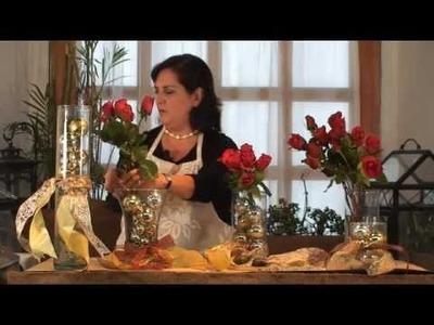 Cómo hacer un arreglo de esferas y rosas