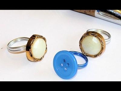 DIY: Anillos de alambre con botones. Wire rings