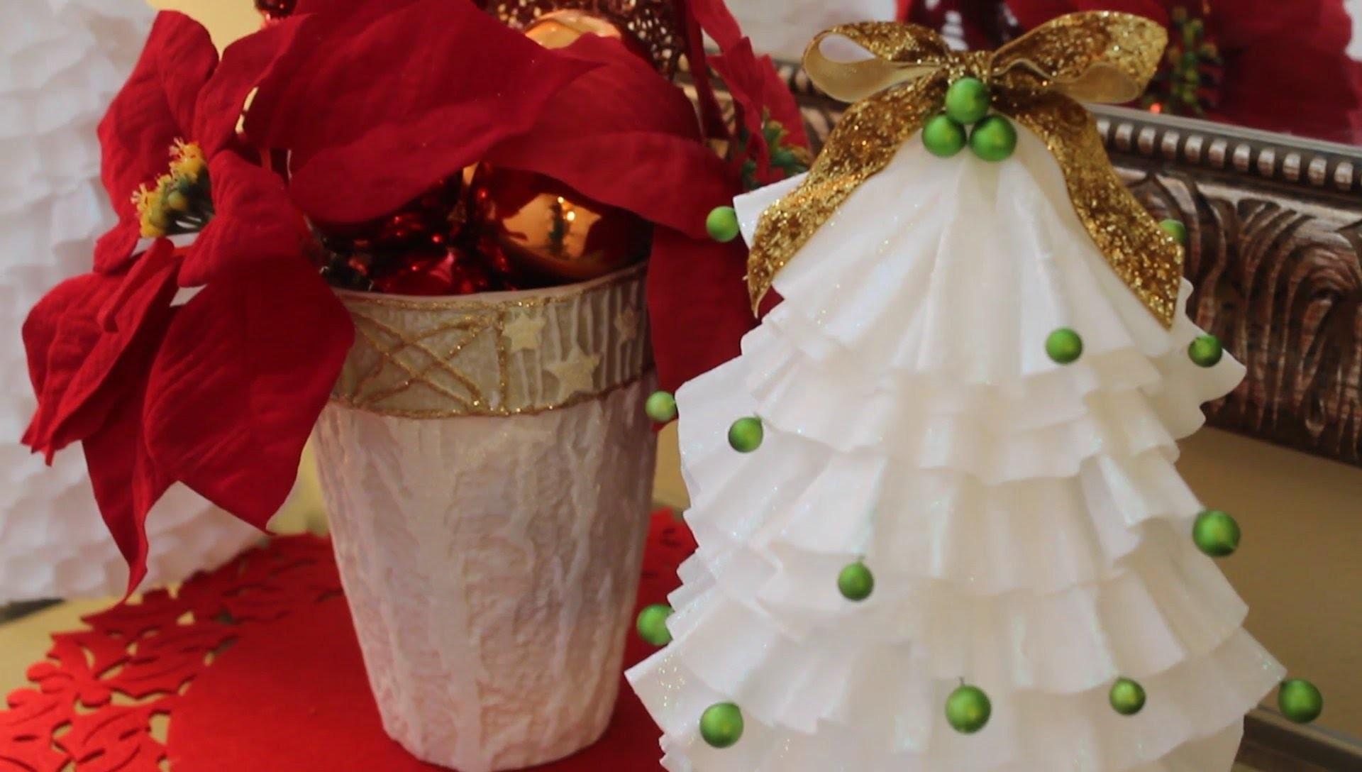 DIY Arbolito Hecho con Filtros de Café - Mini Christmas Tree
