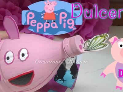 Dulcero de Peppa Pig Reciclado (botellas plásticas)Alcancia o hucha cerdito