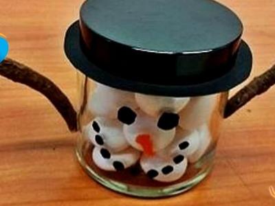 Hacer un Bote de caramelos de Muñeco de Nieve