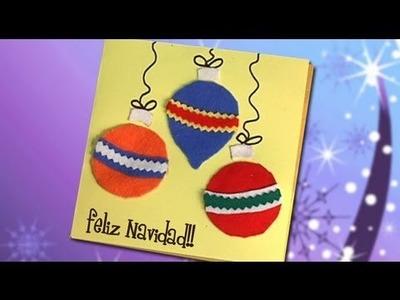 Idea de tarjeta con bolas de Navidad, manualidades