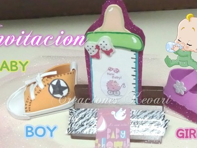 Invitación Biberón Foamy para Baby Shower.How to make Baby Shower Invitations