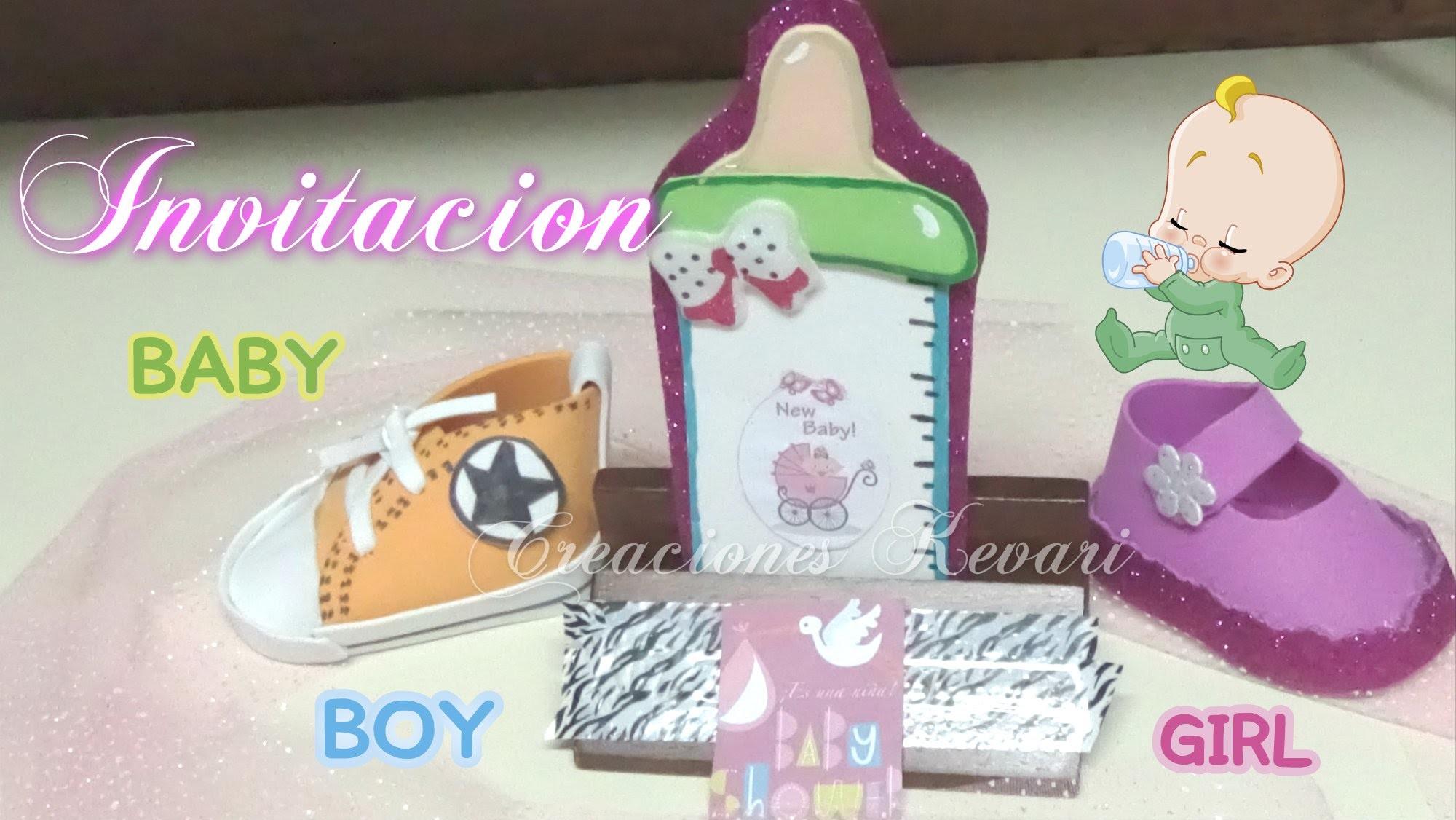 Invitación Biberón Foamy para Baby Shower.How to make Baby Shower Invitations