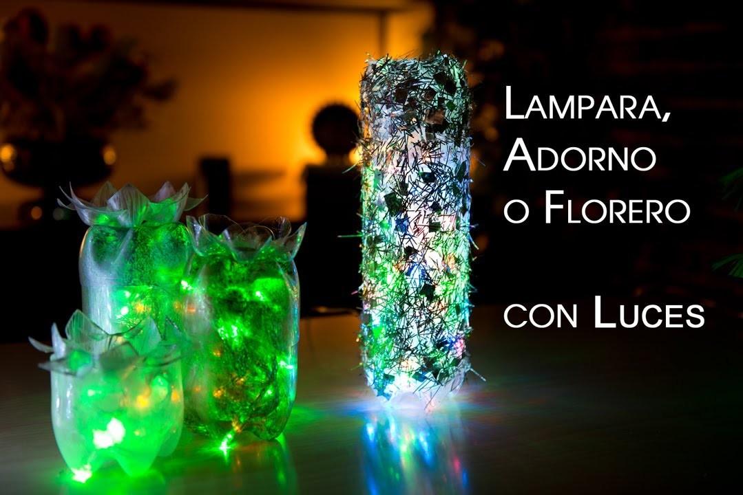 Lampara, Adorno o Florero de Luces de Botellas PET Reciclables