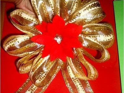 Moños  Navideños con flores en cintas  para regalos