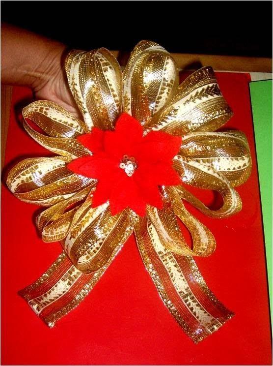 Mo os navide os con flores en cintas para regalos my - Cintas navidad para arbol ...