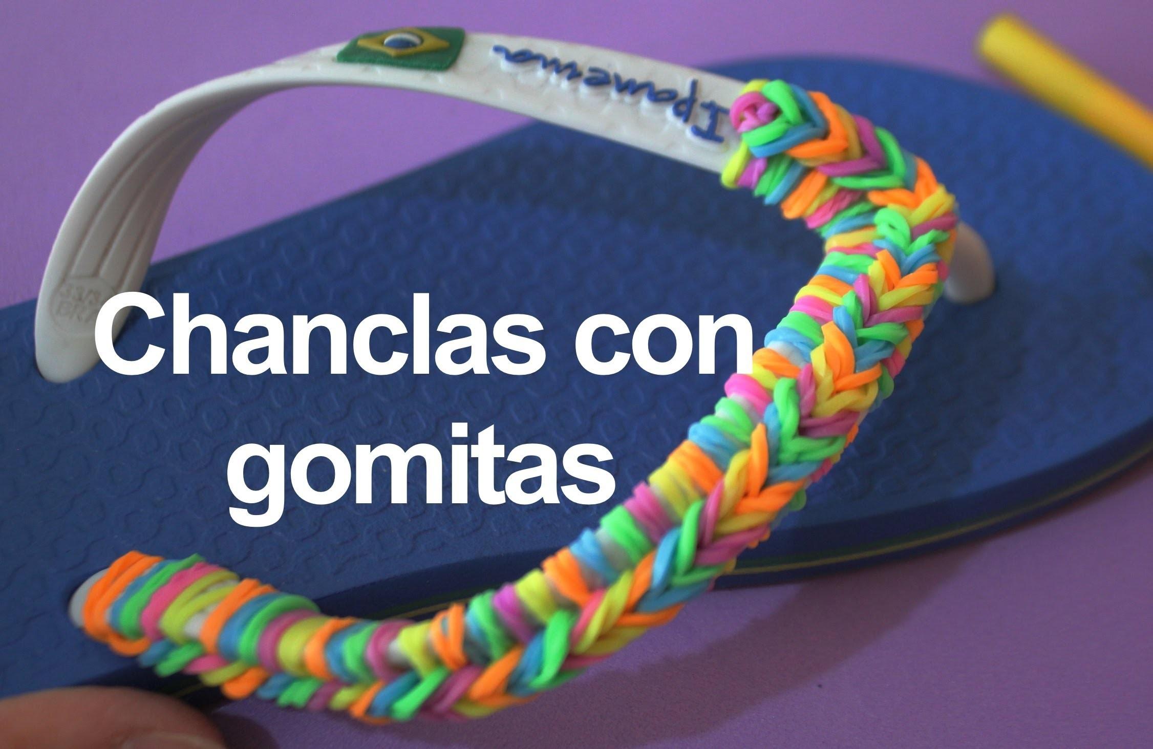 Pulsera de gomitas o ligas en chanclas. Flip flops rainbow Loom