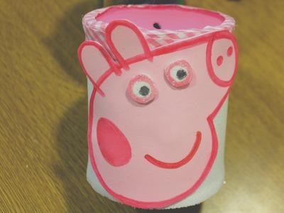 Reciclaje : Hucha de Peppa pig con una lata