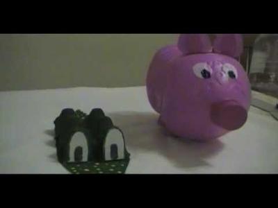 Spa de Objetos - Alcancía Chanchito + Bonus Cocodrilo de cartón!