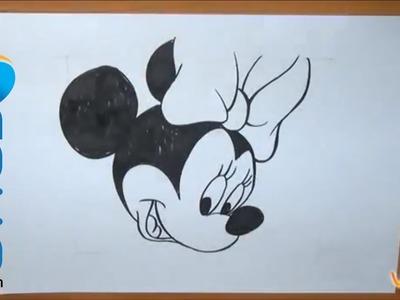 Aprende a dibujar la cara de Minnie Mouse.