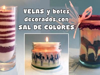 Botes y velas de sal de colores