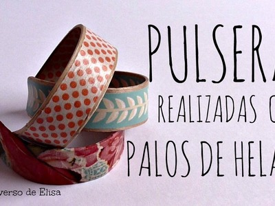 Cómo hacer Pulseras con Palos de Helado, Washi Tape y Servilletas de Papel