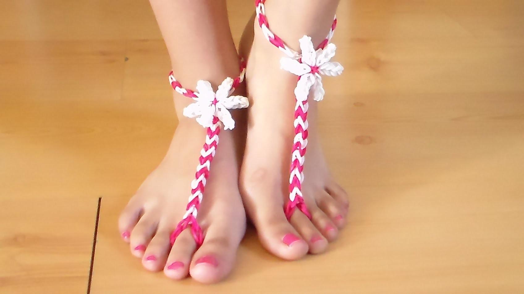 Como Hacer Sandalias de Gomitas para los pies descalzos sin telar