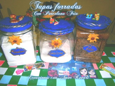 Frascos Decorados(porcelana fria).HOW TO make jars with decorative lids