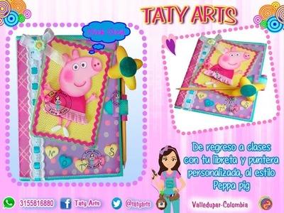 Libreta y puntera de Peppa Pig en Fomi- Goma Eva- Microporoso - Taller Virtual taty Arts