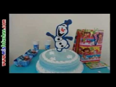 Muñeco de nieve en foami Olaf Frozen Disney en pastel de fiesta e ideal para árbol de navidad