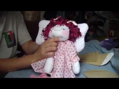 Muñecos soft . Angelitacon flores colgantes. proyecto 119