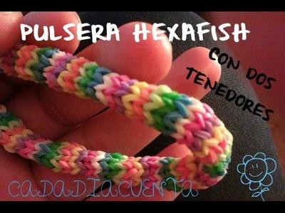 Tutorial para hacer pulseras con gomitas elásticas del pelo o ligas REDONDA- HEXAFISH (sin telar)