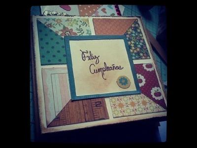 TUTORIAL Tarjeta cuadritos por mitades Feliz cumpleaños