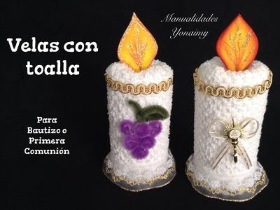 VELAS HECHAS CON TOALLAS FACIALES PARA RECUERDOS DE  BAUTIZO O PRIMERA COMUNION .