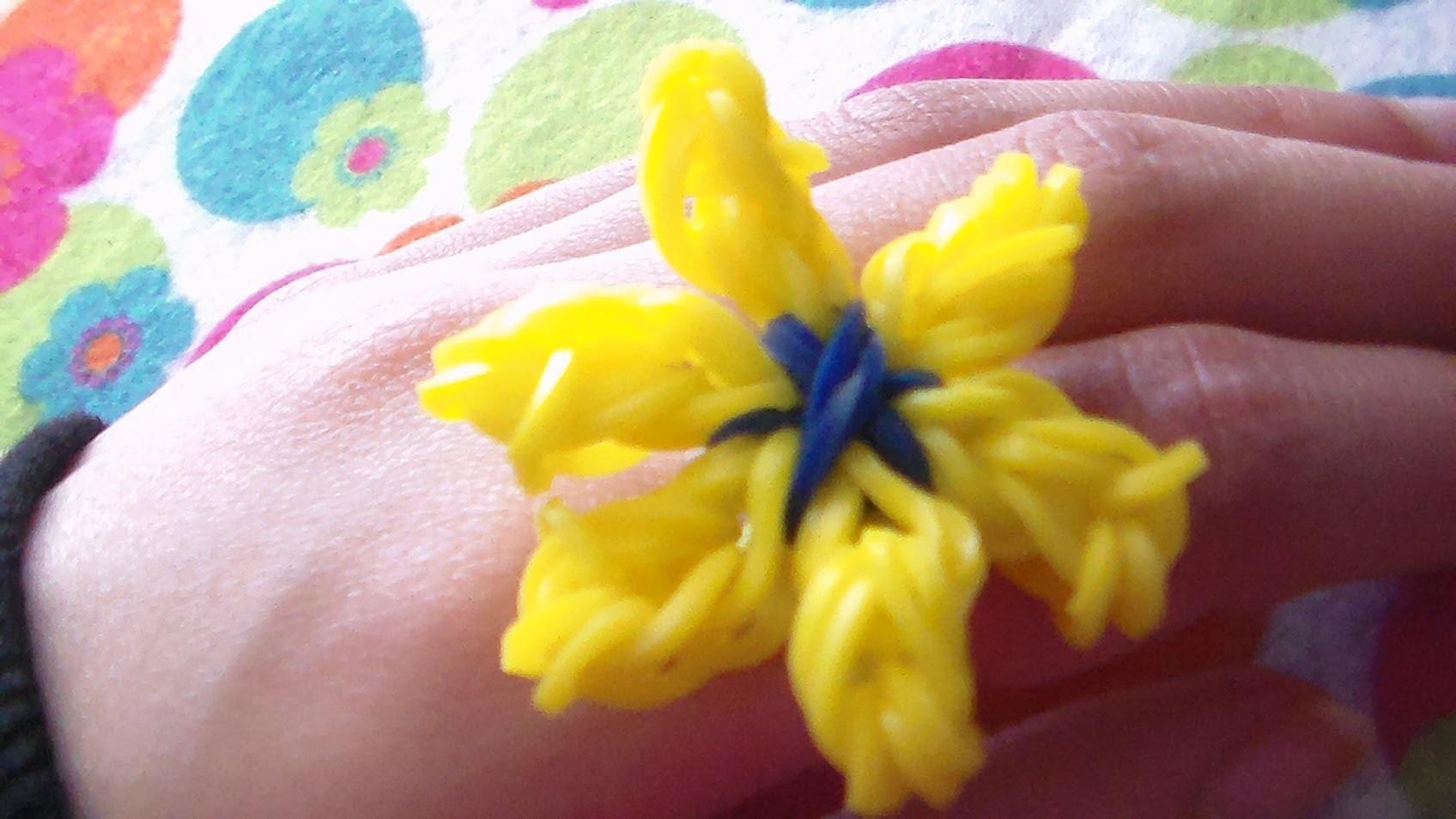 Como Hacer Anillo De Gomitas o ligas en forma de  Flor de Lirio sin telar