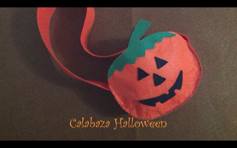 Cómo hacer bolsas de caramelos calabaza Halloween.How to make halloween pumpkin candy bag
