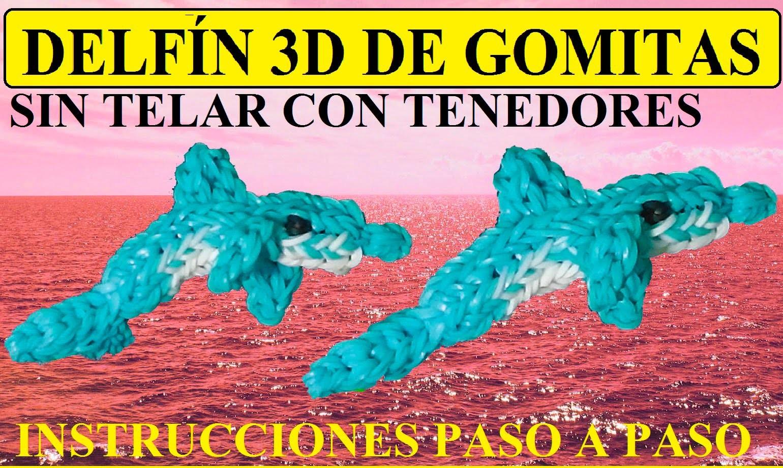 COMO HACER UN DELFÍN 3D DE GOMITAS SIN TELAR, CON TENEDORES, TUTORIAL