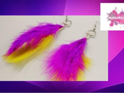 DIY. Pendientes con plumas. Muy fácil!!. Earrings with feathers.Very easy!!!