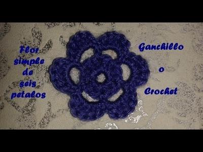 Flor simple de seis petalos en ganchillo o crochet 1º PARTE