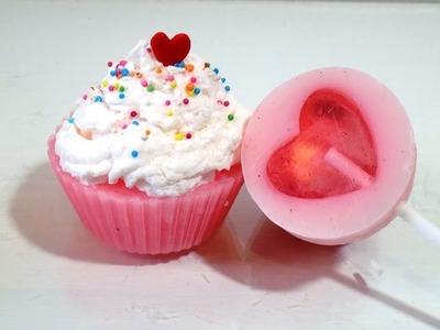 Jabón de glicerina en forma de cupcake y paleta (Regalo fácil para San Valentín)