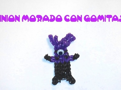 Minion morado de gomitas con telar rainbow loom. Rainbow loom charms purple minion with loom bands