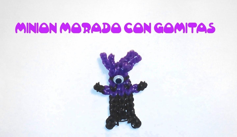 Minion morado de gomitas con telar rainbow loom. Rainbow loom charms purple minion with loom bands