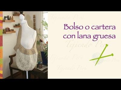 Bolso o cartera tejido en dos agujas en lana muy gruesa