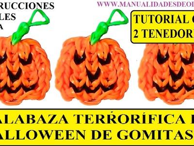 COMO HACER UNA CALABAZA DE HALLOWEEN TERRORIFICA DE GOMITAS CON DOS TENEDORES. SIN TELAR