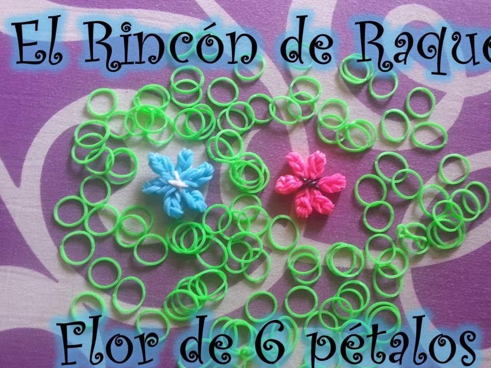 Como hacer una flor de 6 petalos con gomitas rainbow loom