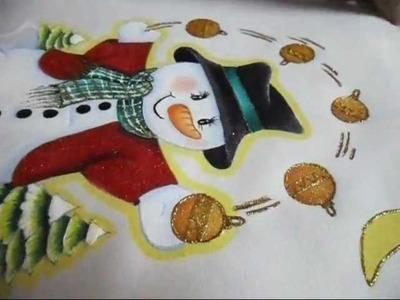 Como Pintar un Muñeco de Nieve en Tela paso a paso parte 3 (tiempo real)