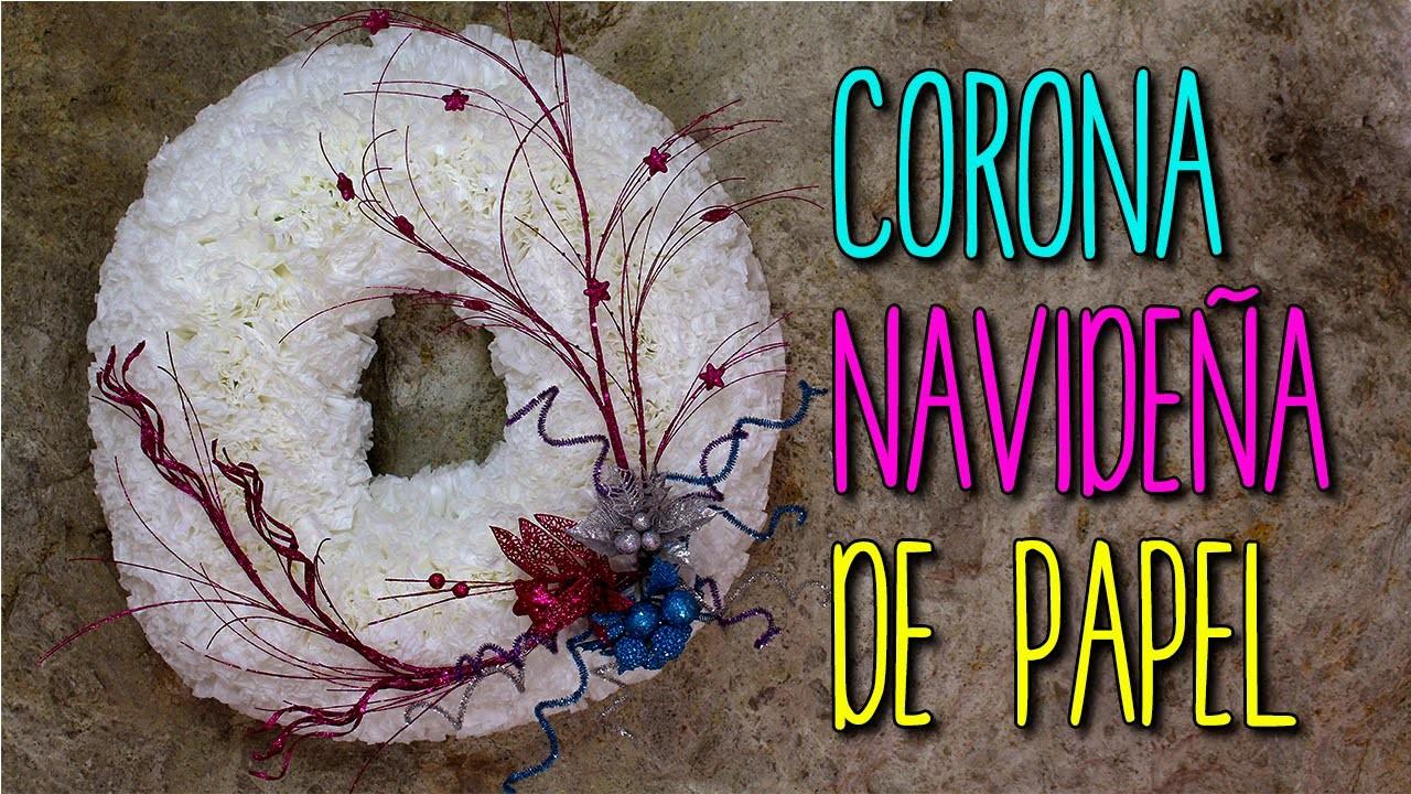 Corona navide a con material reciclado manualidades para for Materiales para manualidades navidenas