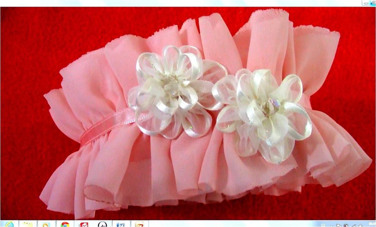 Diademas en gasa con rosas en cintas de organza para el cabello