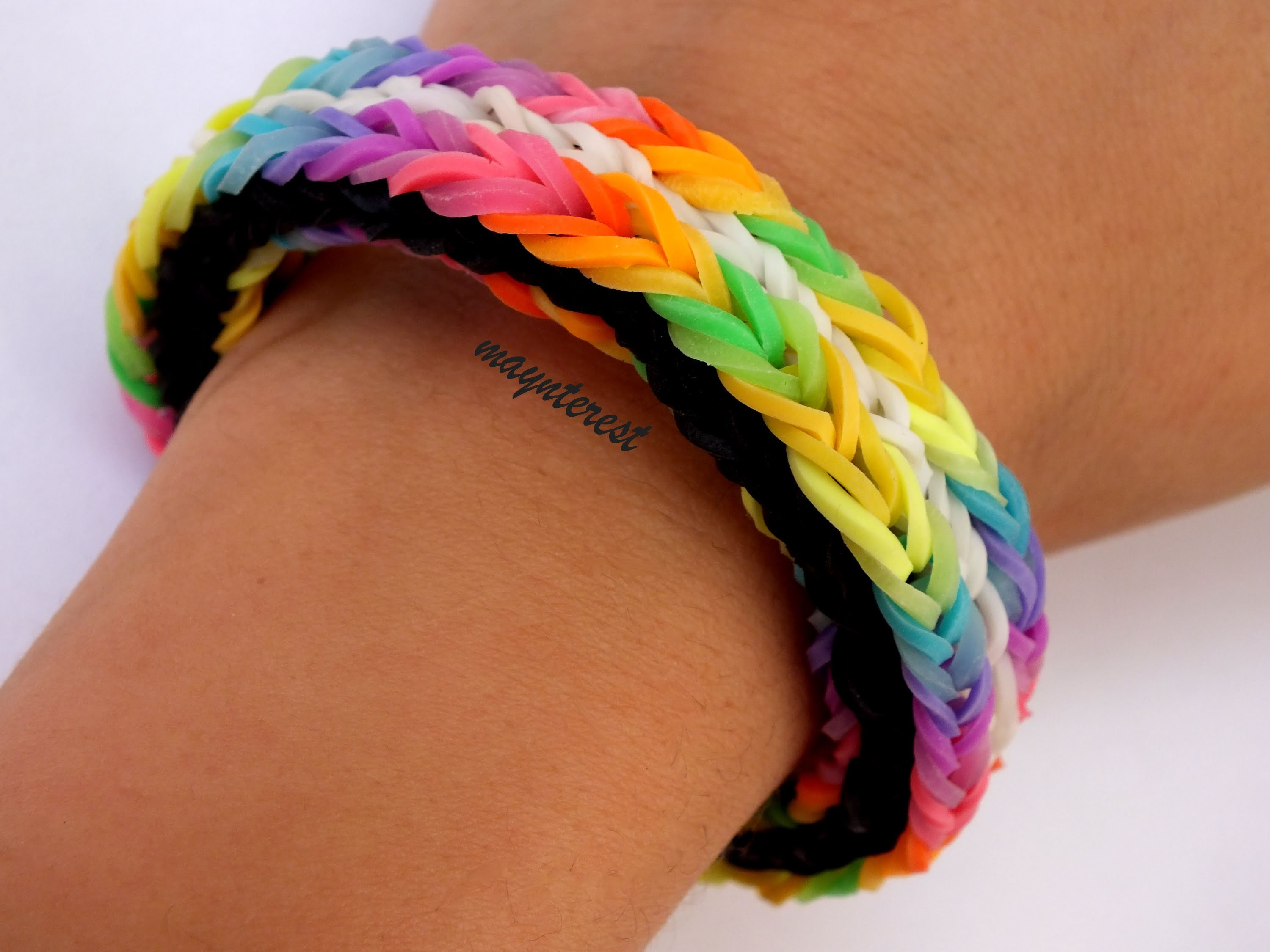 DIY | PULSERA DE GOMITAS LONG CROSS TRIPLE FISHTAIL (SIN TELAR) | BRACELET