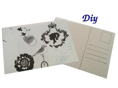 Postal reciclando cartón, manualidades!!