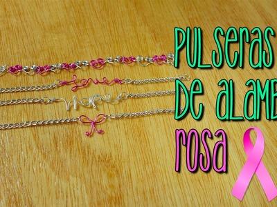 Pulseras de Alambre Rosa - Octubre Rosa - Breast Cancer Awareness