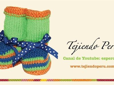 Zapatitos de colores para bebes tejidos en dos agujas o palitos