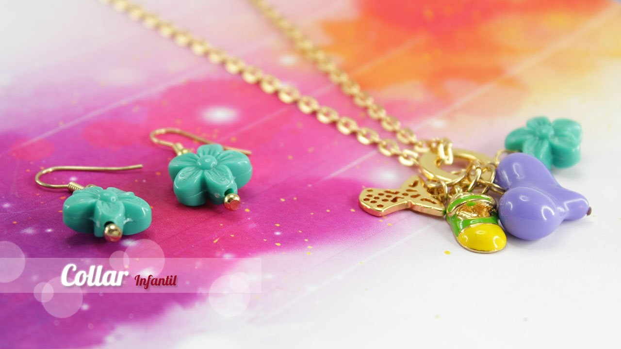 Como hacer un collar infantil corazon morado Kit 23276