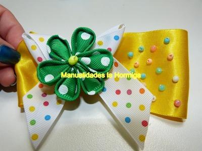 DIY.Elabora moños sencillos decorados con flores miniatura en cinta paso  a paso