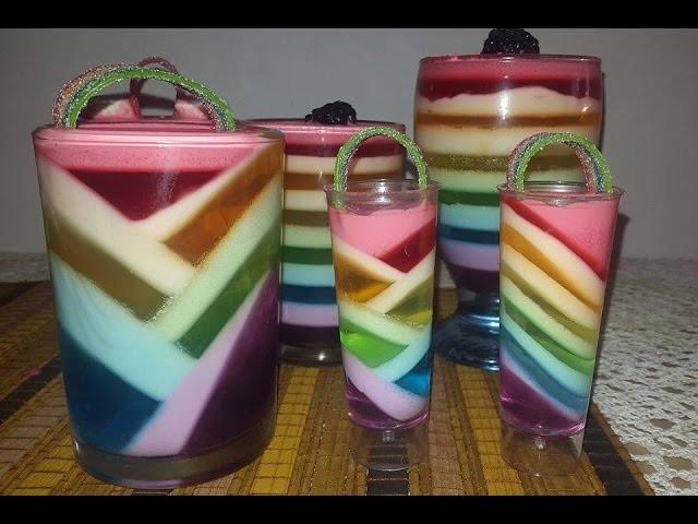Gelatina arcoiris muy fácil. rainbow jello cups