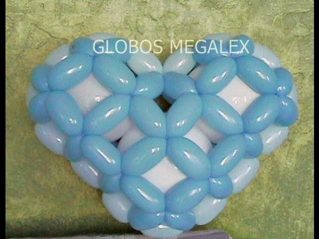 GLOBOS CORAZON 3D CON MEGALEX 1. 3.  3D HEART