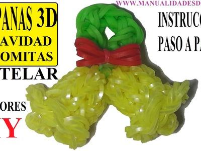 Manualidades navideñas. Como hacer campanas de navidad en 3D de gomitas con tenedores , sin telar