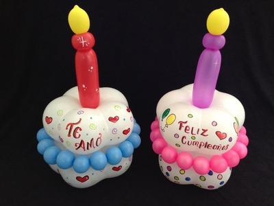 PASTELITO HECHO CON GLOBOS.- BALLOON  BIRTHDAY  CAKE .